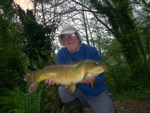 A decent sized, fully scaled carp taken on freelined bread bait